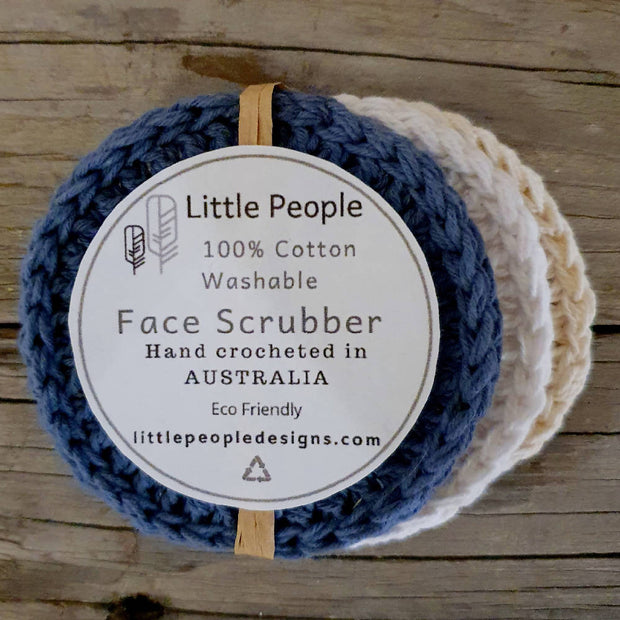 3 Pack of 100% Cotton Face Scrubbies