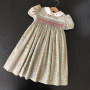 Smocked Dress - floral - size 4 - one of a kind