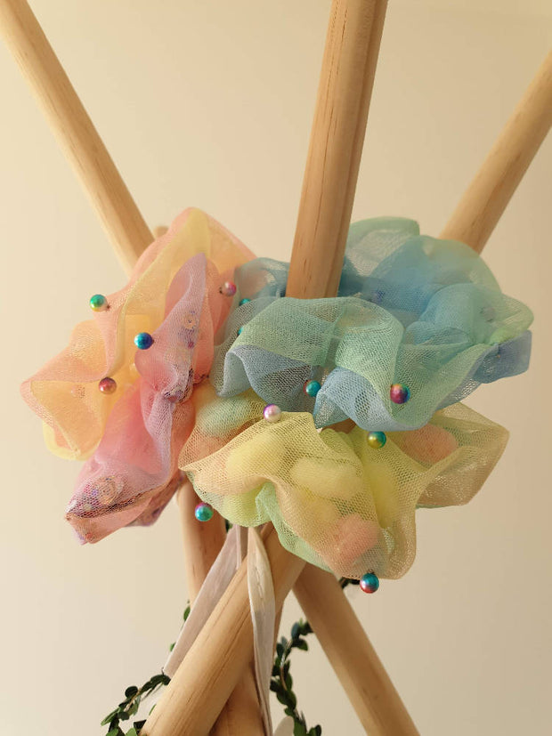 Beaded Pom Pom Filled Organza Scrunchies