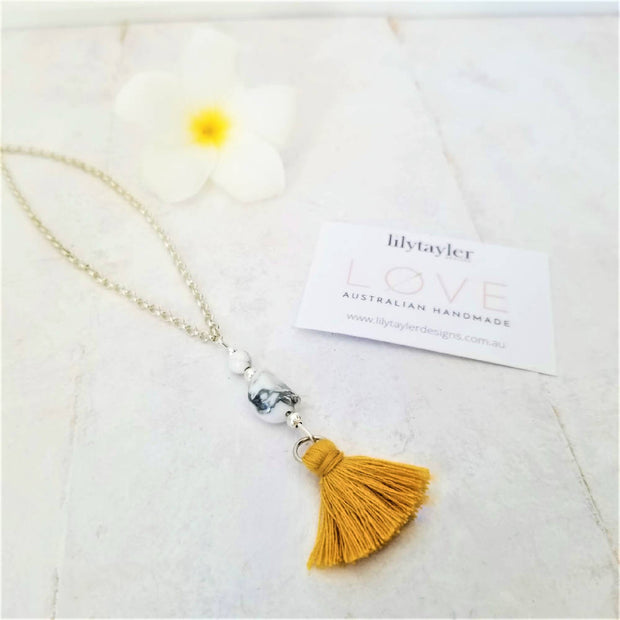 NEW! Mustard Tassel Necklace
