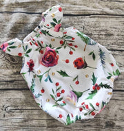 Christmas Floral Playsuit Flutter Green And Red Christmas Romper Coming Home Outfit Baby Photos Baby Gift Bubble Romper Xmas Playsuit