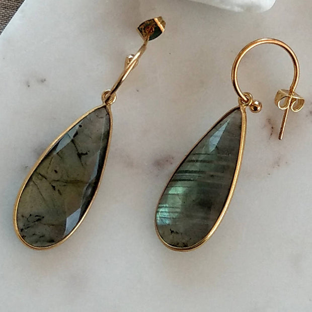 Gold Plate Gemstone pendant Earrings