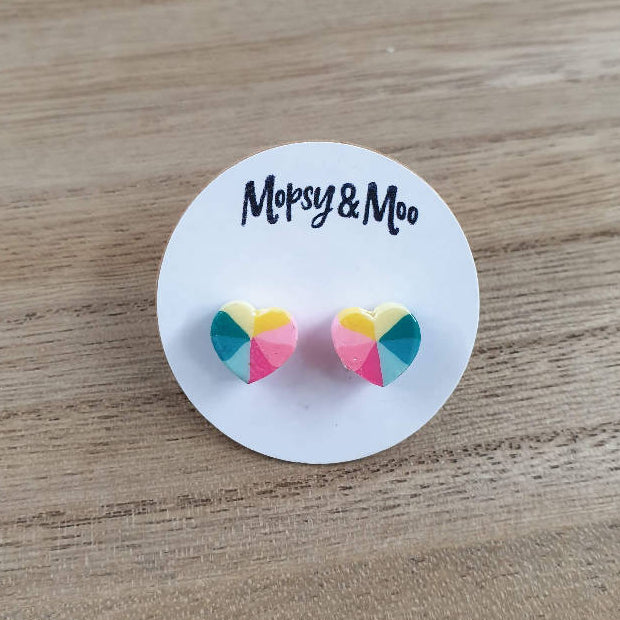 Polymer Rainbow Heart Earrings