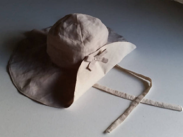 Linen Wide Brim Floppy Sun Hat - Natural & Stone