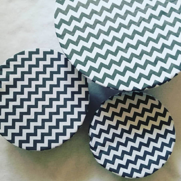 Reusable Fabric food covers- Grey Chevron
