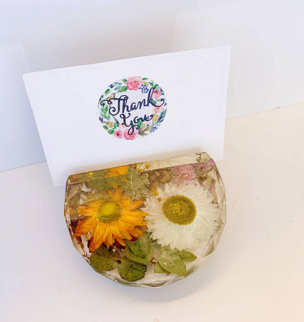 Round Floral Business Card Holder