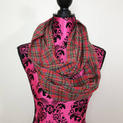 Red Plaid Adult Infinity Scarf. OOAK