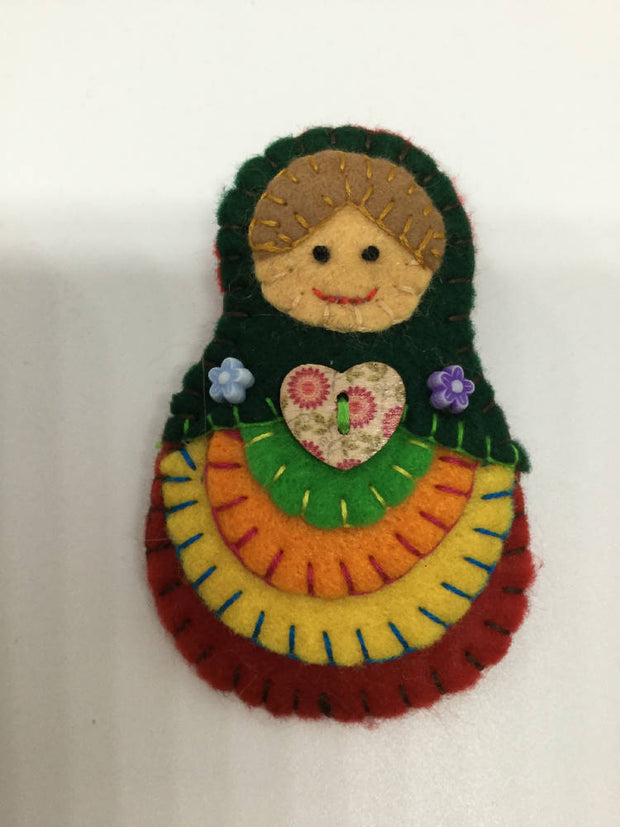 Babushka doll statement Brooch
