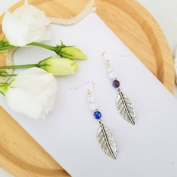 Tribal Blue Feather Earrings