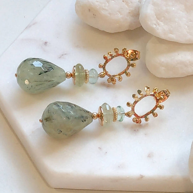 Prehnite, Green Flourite Gold drop Earrings