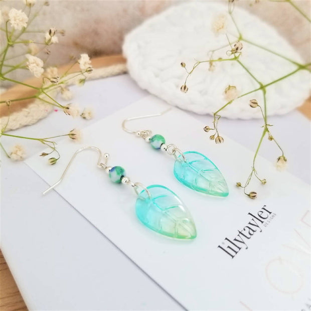 Czech Glass Leaf Agate Earrings