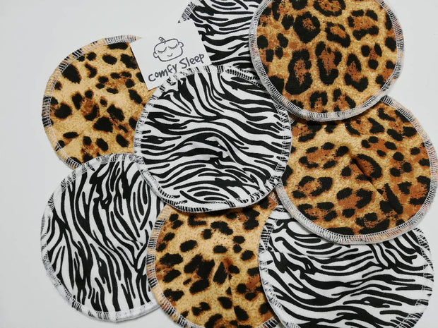 Animal print reusable nursing pads - Set of 4