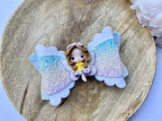 Rainbow sparkly fairy girl clay glitter hair bow, floral baby bow, hair accessories, baby shower iso birthday stocking stuffer gift