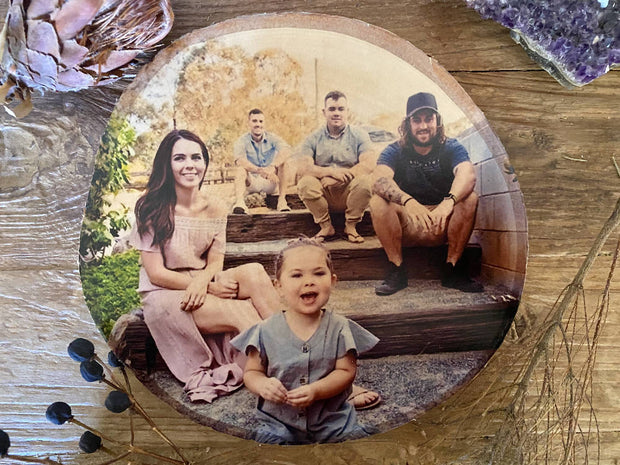Family Photo Portrait on Wood, Silver Birch, Personalised Photo Gift, Christmas gift, Custom Photo Gift, Gift for Her, Gift for Him, 50th Birthday Gift