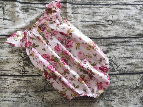 Pink Floral Romper, pink Floral Dress, Pink Flowers Romper Watercolour Dress, Floral Outfit, Cotton Floral Dress