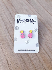 Hand-painted Pineapple Earrings
