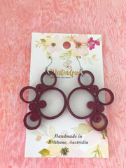 Deep Maroon quilled earrings - you won't believe it's paper!
