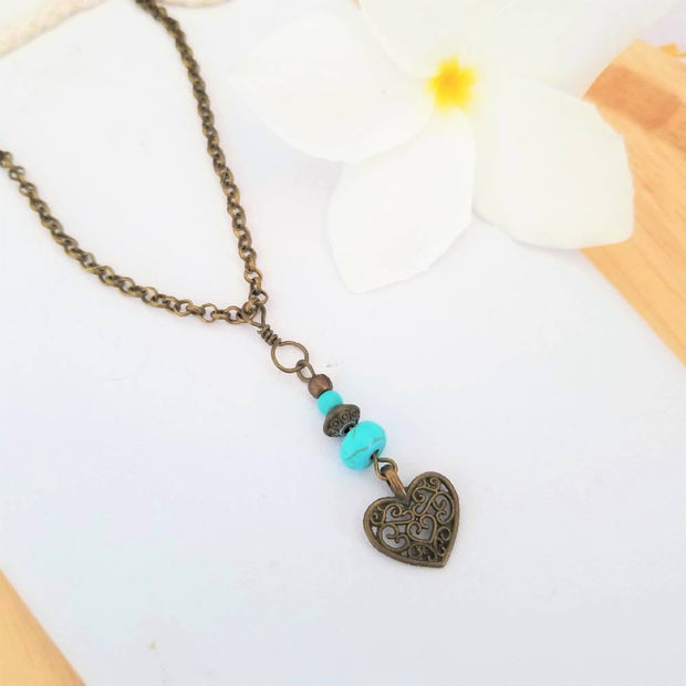 Antique Bronze Charm and Turquoise Necklace