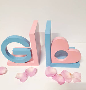 Custom Painted Initial and Heart Frame Bookends