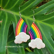 Rainbow Drop with Clouds Dangle Earrings