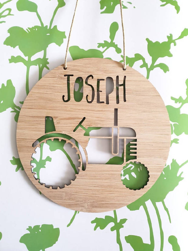 Tractor Wall Hanging (Bamboo or Pastel Coloured Acrylic)