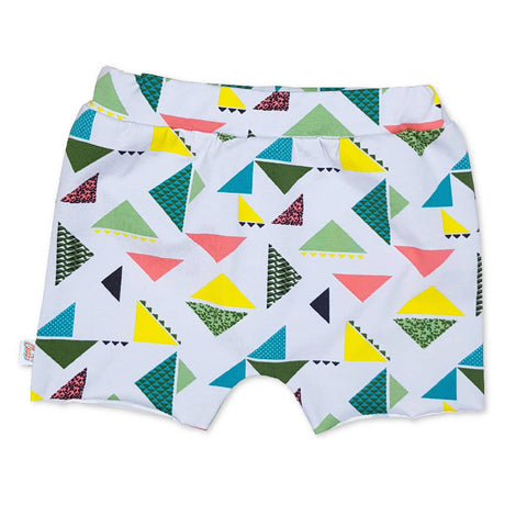 funky triangel shorts, kids unisex shorts, toddler short pants