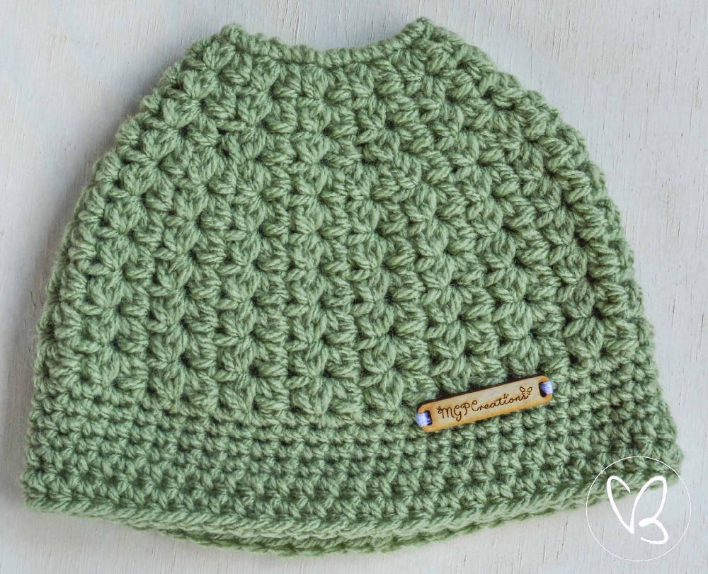 Green Children's Ponytail/Messy Bun Beanie