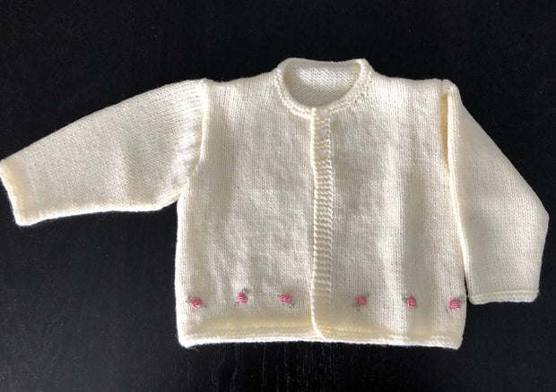 Embroidered baby cardigan & hat - rosebuds on winter white