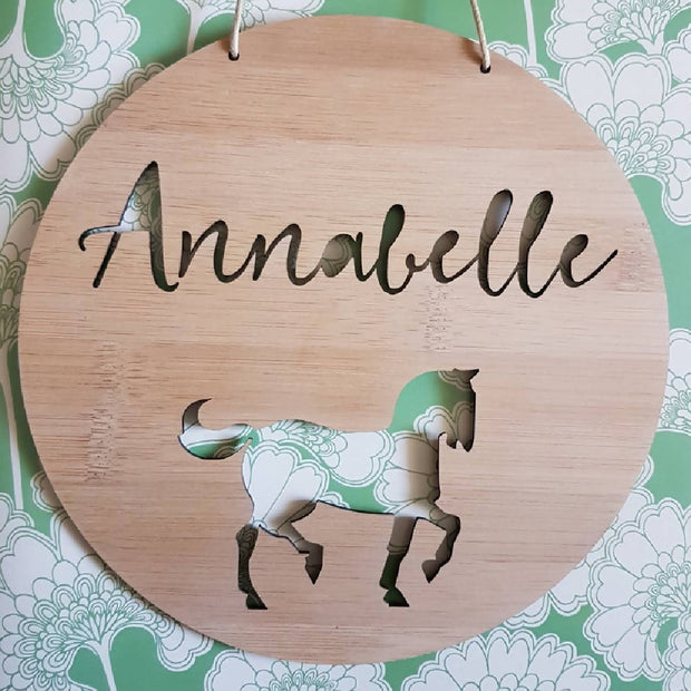Horse Wall Hanging (Bamboo or Pastel Coloured Acrylic)