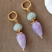 Lavender Amethyst & Carved Amazonite Gold Earrings