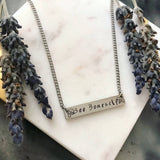 Hand Stamped Bee Yourself Bar Pendant Necklace