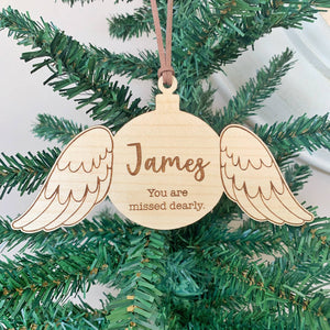 Wooden angel wings Christmas ornament
