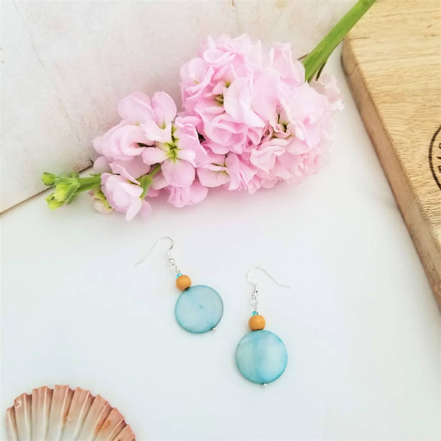 Blue Coral Wood Earrings