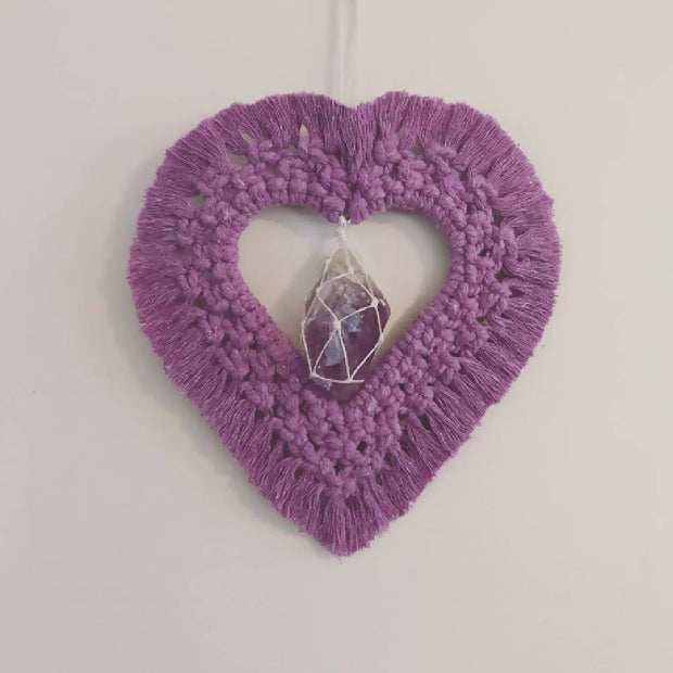 Macrame Heart with Crystal