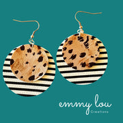 Stripes and Animal Print Faux Leather Earrings