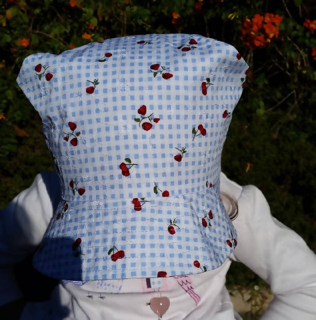 Adjustable Bonnet - Embroidery Blue Checker Cherries