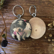 Wood Slice Key Ring - Personalised Gift, Personalised Key Ring, Pet Key Ring, Pet Keepsake, Handmade Wood Block, Rustic Photo Gift, Family Key Ring