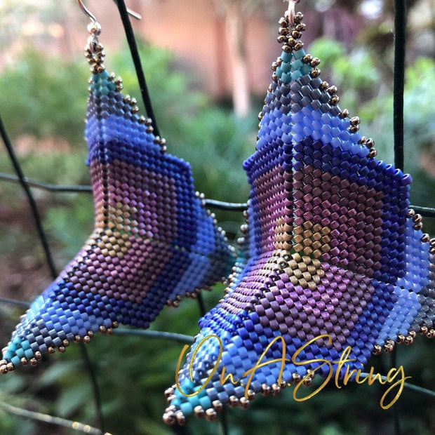Custom Geometric Beaded Earrings | Design Your Own Big Square Earrings | Personalized Peyote Stitch Earrings | Boho Jewelry for Women