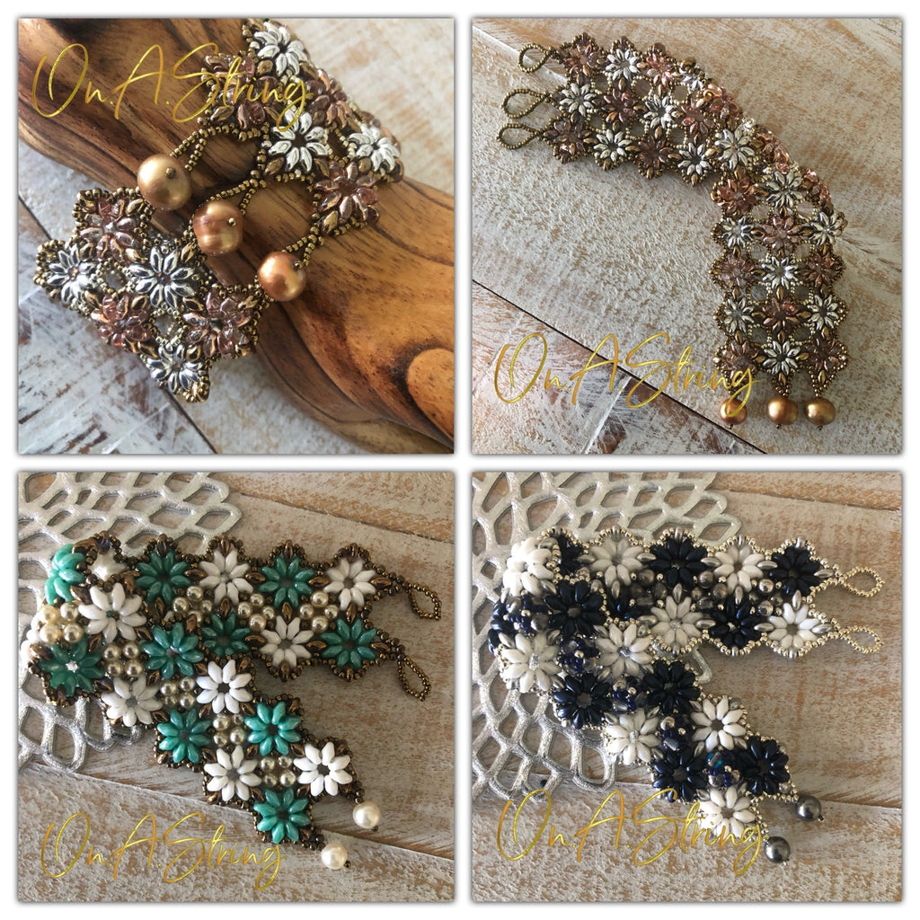 Simple Cuff Bracelet Beading Tutorial | SuperDuo Beads and Seed Beads | Learn to Bead Pattern | DIY Beaded Bracelet | PDF Digital Download