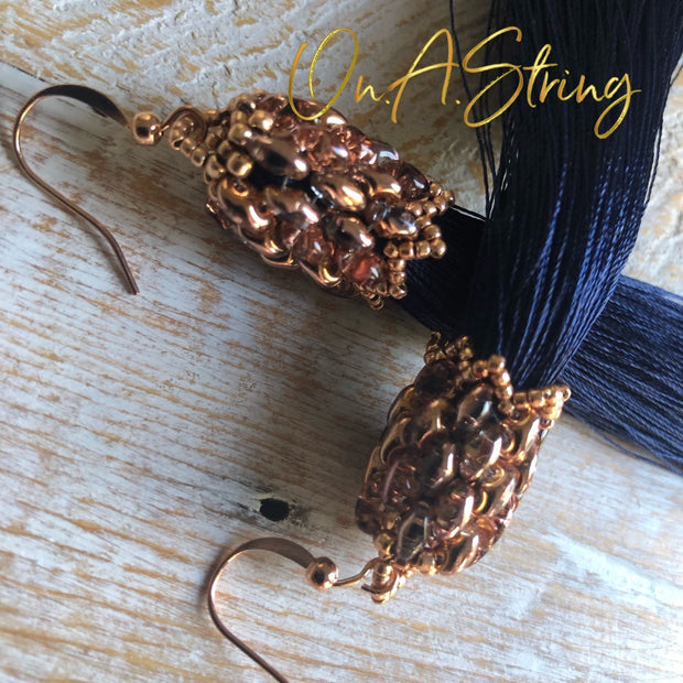 Dark Navy Tassel Earrings | Boho Statement Earrings for Bridesmaids | Jewelry Gift for Women