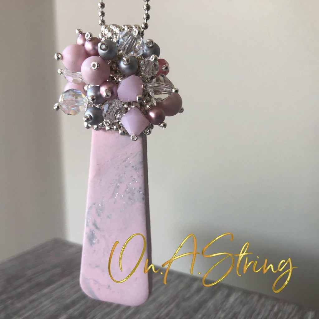 Pink Polymer Clay Oblong Pendant Necklace | Beaded Statement Necklace | Boho Jewelry Gift for Her