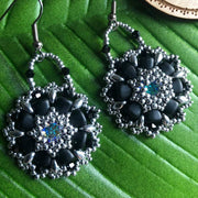 Matte Black & Silver Earrings | Swarovski Crystal Centre | Nib and SuperDuo Beads | Jewelry Gift for Women | 40th Birthday Gift