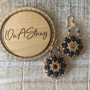 Dark Blue & Vintage Copper Earrings | SuperDuo Beads | Round Boho Earrings | Women's Jewelry Gift