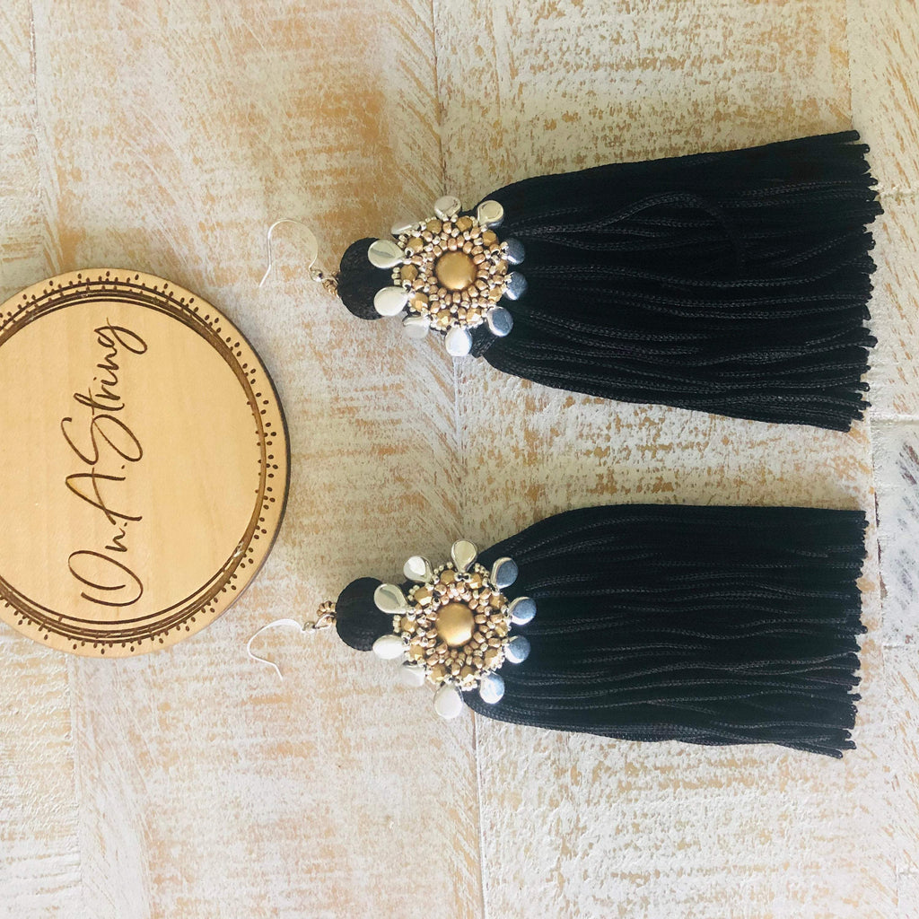 Black Gold & Silver Tassel Statement Earrings | Beaded Flower Statement Earrings | Big Boho Earrings | Bridesmaid Gifts | OOAK Jewelry