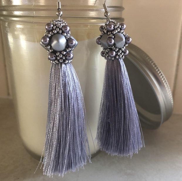 Matte Grey & Silver Tassel Earrings | Long Dangle Earrings | Statement Jewelry Gift for Women | Bridesmaid Gifts | 40th Birthday Gift | OOAK