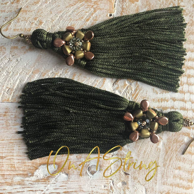 Khaki Green Tassel Earrings | Handmade Drop Earrings | Boho Dangle Tassel Earrings | Unique Bridesmaid Gift