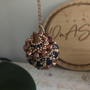 Beaded Pendant Necklace | Rose Gold, Blue & Copper| Unique Statement Jewelry Gift for Women | Boho Beaded Pendant