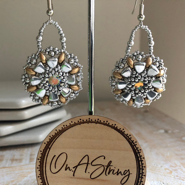 Gold & Silver Earrings | Swarovski Crystal Centre | Nib and SuperDuo Beads | Silver Pearls | Jewelry Gift for Women | 40th Birthday Gift