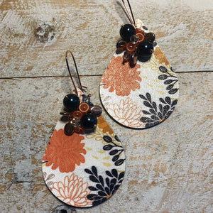 Floral Print Teardrop Earrings | Faux Leather Earrings | 60's Style Drop Earrings | Gift for Girlfriend