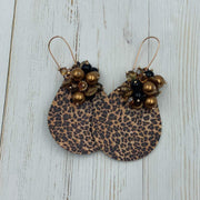 Leopard Print | Faux Leather Teardrop Shaped Earrings | 60's Style Drop Earrings | Gift for Girlfriend | Glamour Earrings